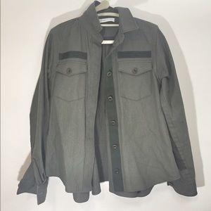 Sacai Jackets & Blazers - Sacai Luck Green-flared back military shirt jacket