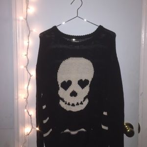 Hi-low skull sweater