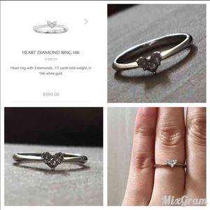 V day 14k white gold heart shaped promise ring