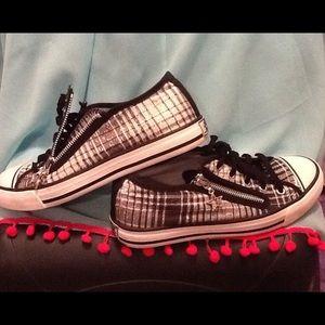 Gotta Flurt Shoes - Black/white/silver sparkle Skate shoes
