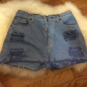 High wasted distressed Jean shorts