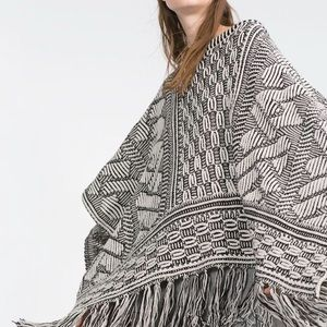 ZARA BLACK AND WHITE FRINGE PONCHO