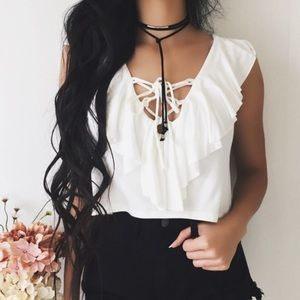 1 DAY SALE ❤️ White Lace Up V Neck Cropped Top