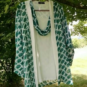 Tops - 2-Pc Long Cardi BLOUSE & Scarfed Tank SET NWOT