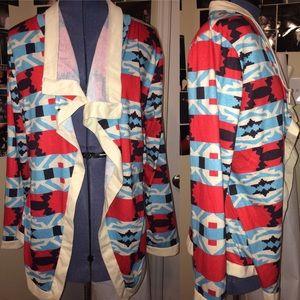Southwestern Print Drape Front Cardigan