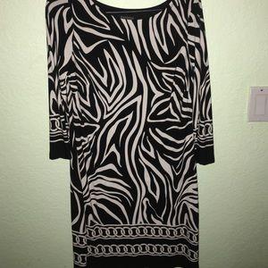 Zebra Print Shift/Midi Dress