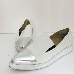 Asos white with silver tip flats