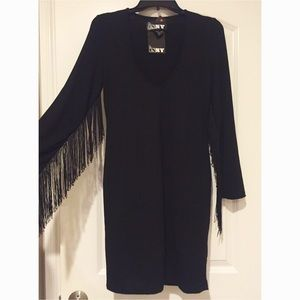 DNY Dresses & Skirts - NWT. Under sleeve fringe v-neck dress