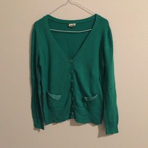 ModCloth Sweaters - ModCloth green cardigan with polka dot details
