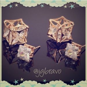 Jewelry - LAST ONE🎉🎉Double Sided Caged Crystal Earrings