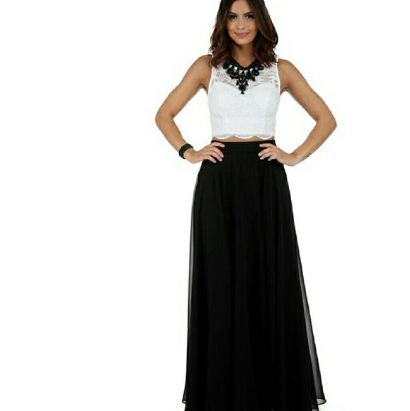 Black two piece dress formal