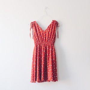 Dresses & Skirts - Red Orange Printed Cinch-waist Dress