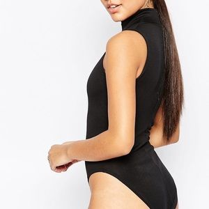 Misguided Ribbed High Neck Bodysuit from ASOS