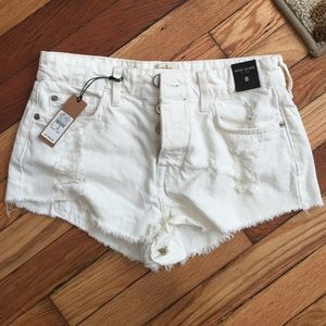 Brand new ASOS white denim shorts, size 0/2