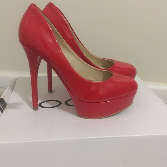 RED ALDO SHOES high heels stiletto platform snakeskin