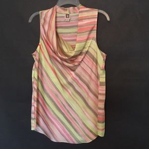 Anne Klein Tops - Cowl-necked striped top