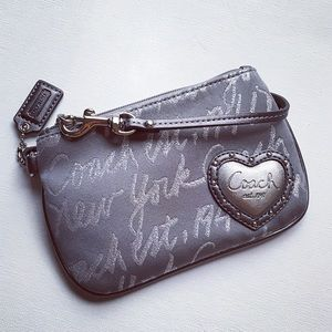 Coach Handbags - Coach Dark Silver Studded Heart Wristlet