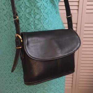 Vintage Coach Black Leather Crossbody