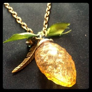 Unique gold and green Pinecone necklace