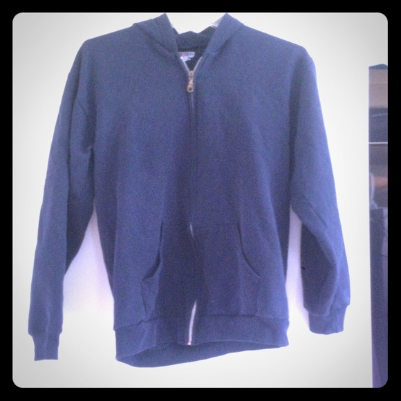 75% off Jackets & Blazers - Plain navy blue sweatshirt from ...