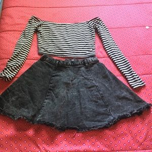 Frayed Acid Wash Skirt