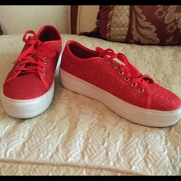 Red Glitter Tennis Shoes | Poshmark