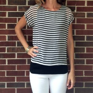 ESPRIT Black & White Striped Top