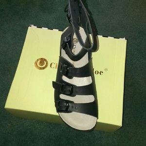 NIB Black Gladiator Style Sandals