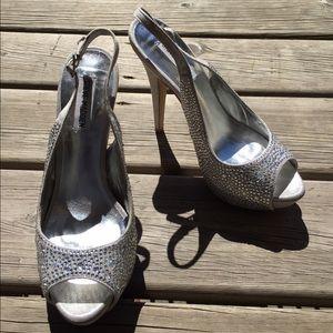 Crystal / silver Steve Madden heels