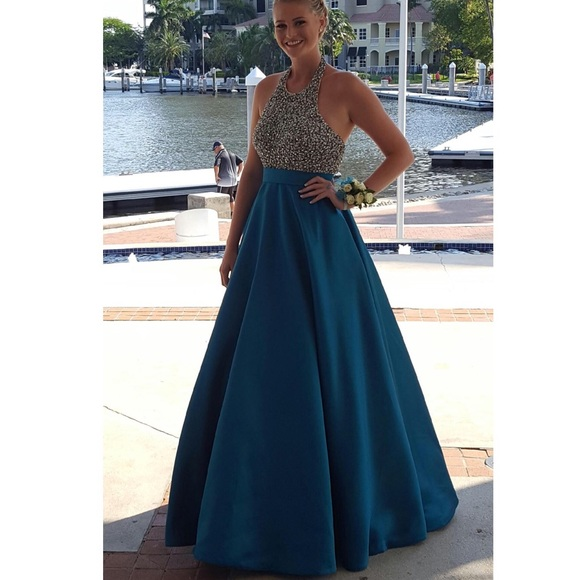56% off Jovani Dresses Royal And Silver Halter Ball Gown Promdress ...