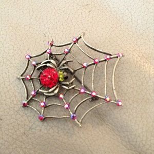 Hot Topic Jewelry - Royal Red rhinestone Valentine spider brooch
