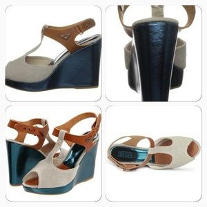 Diesel Shoes - Metallic Teal Leather & Canvas T Strap Wedges