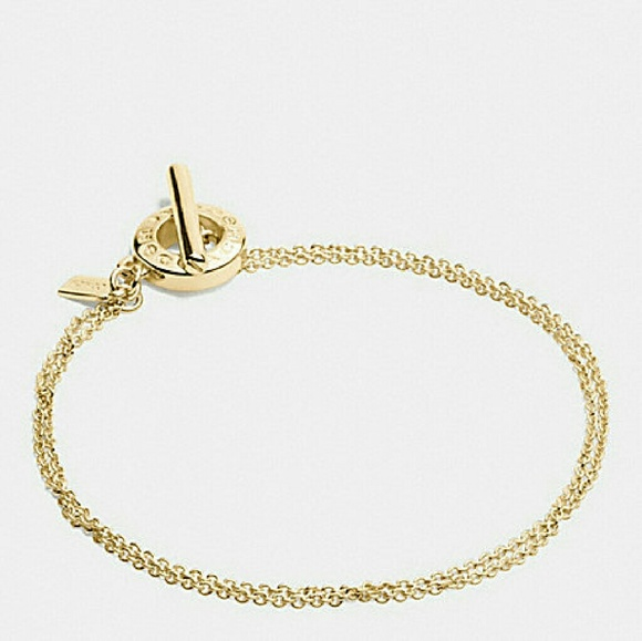 Coach Coach Gold Signature Open Ring Chain Bracelet NWT from