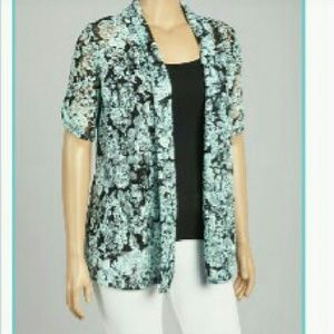 Tops - Sheer Aqua & Black Lace Cardi Blouse in EUC