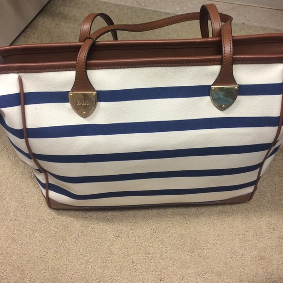 98b940270010 NWT Ralph Lauren Navy and cream striped tote