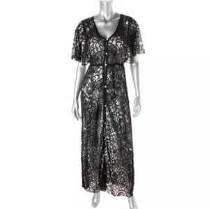 Elan Other - NWT💠Black Lace V-Neck Dress Swim Cover-Up