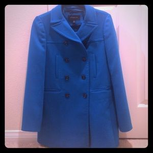 Bright blue pea coat