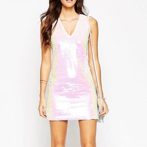 ASOS Dresses   Skirts - New iridescent white sequin dress 1b44f1f2b