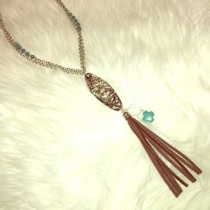 Jewelry - Long Boho silver necklace w/ turquoise & leather