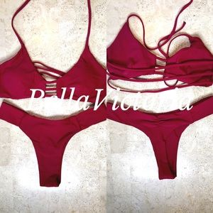ae9a530fc3 NEW SMALL/MEDIUM THONG DARK RED BIKINI SET Boutique