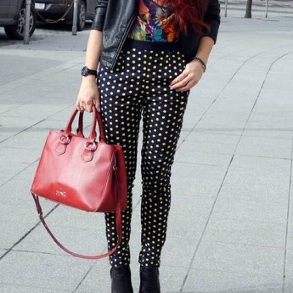 c4d40b42 Zara Pants | Xs Navy Blue Trousers With Yellow Polka Dots | Poshmark