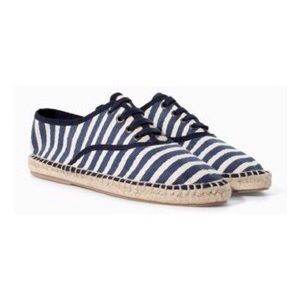 Zara Lace-up Striped Sneaker with Espadrilles Sole