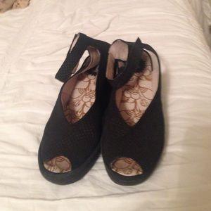 """Black wedge (2 1/2 """") open toe / Fly London brand"""