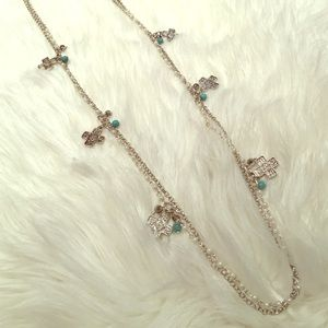 Jewelry - Double silver necklace w/ turquoise & crosses