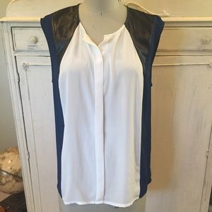 Vince Camuto sleeveless blouse with leather detail