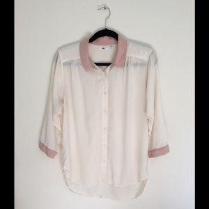 White Sheer Button Down UNIQLO Shirt