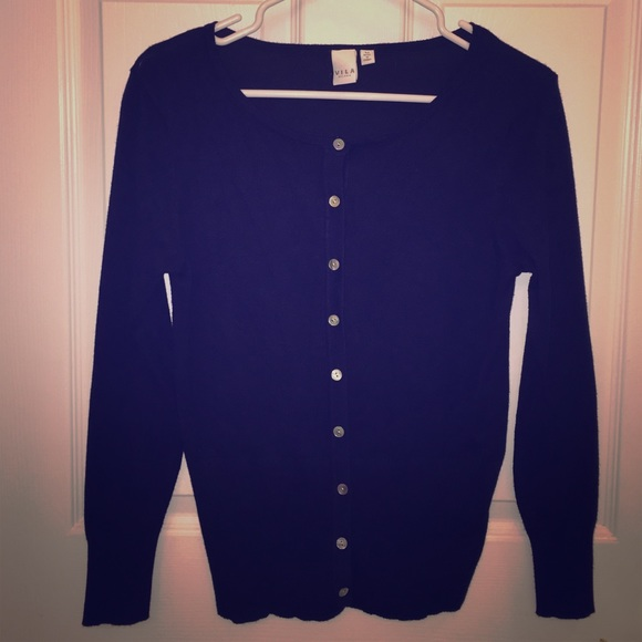 68% off Vila Milano Sweaters - Navy Blue Button Up Cardigan from ...