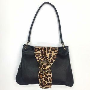KEMESTRY Leather Animal Hair Shoulder Bag