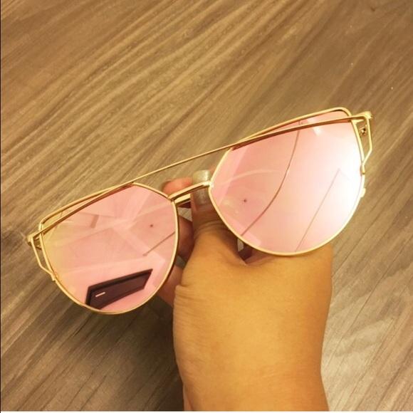 3ca526f81cc Rose Gold Cross Wire Mirror Lens Sunglasses Boutique