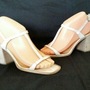 Costume National Shoes - Costume National 7.5 to 8 38 White T-Strap Sandals